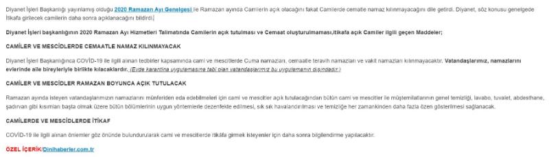 Ramazanda Camiler İbadete Açılacak mı?