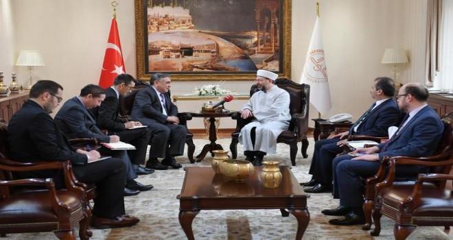 Diyanet İşleri Başkanı Erbaş, Özbekistan Ankara Büyükelçisi Agzamhocaev'i kabul etti