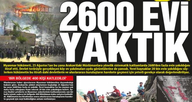 Mynmar hükümeti itiraf etti, 2600 evi yaktık