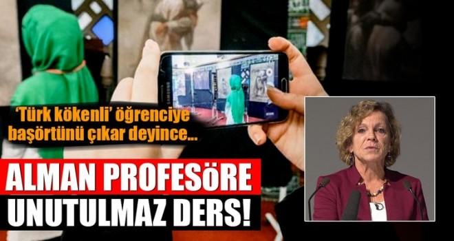 Türk kökenli öğrenciye 'Başörtünü çıkar' diyen Alman profesöre protesto