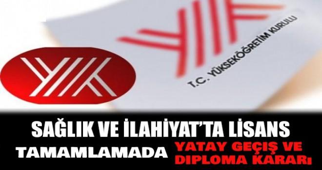 ilahiyat ve Sağlık Lisans tamamlamada yatay geçiş ve diploma kararı