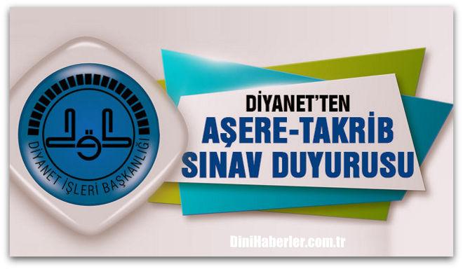 Aşere Takrib Kursu Sınav Duyurusu