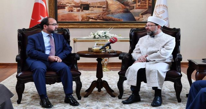 Erbaş, Afganistan Hac ve Din İşleri Bakanı Osmani'yi kabul etti