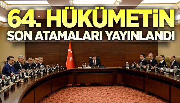 Davutoğlu hükümetinin son atamaları Resmi Gazete\'de