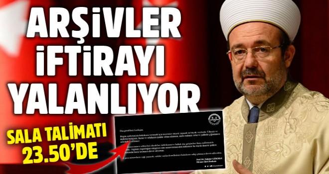 Arşivler Mehmet Görmez'e iftirayı yalanlıyor