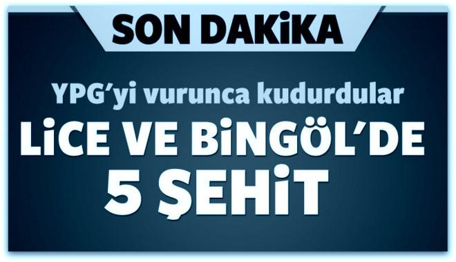 Diyarbakır ve Bingöl\'de 5 şehit