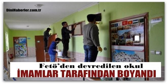 FETÖ'den devredilen okul, imamlar tarafından boyandı