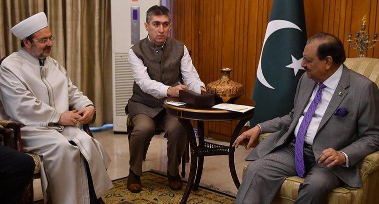 Görmez, Pakistan Cumhurbaşkanı Memnun Hüseyin ile görüştü