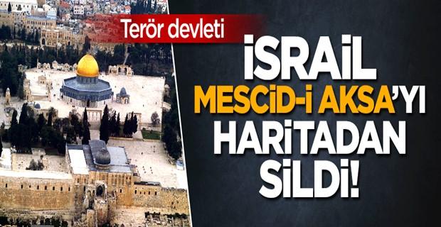 İsrail, Mescid-i Aksa\'yı haritada yok saydı!