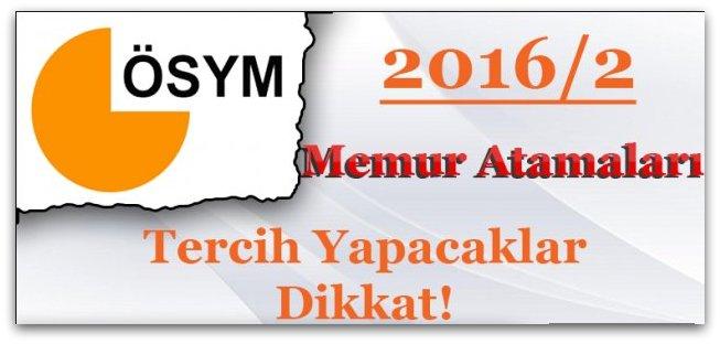KPSS 2016/2 Tercihi Yapacak Adaylar Dikkat !