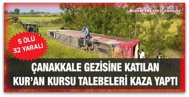 Kursiyerleri götüren otobüs kaza yaptı,5 ölü, 32 yaralı