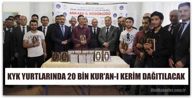 KYK yurtlarında 20 bin Kur\'an-ı Kerim dağıtılacak