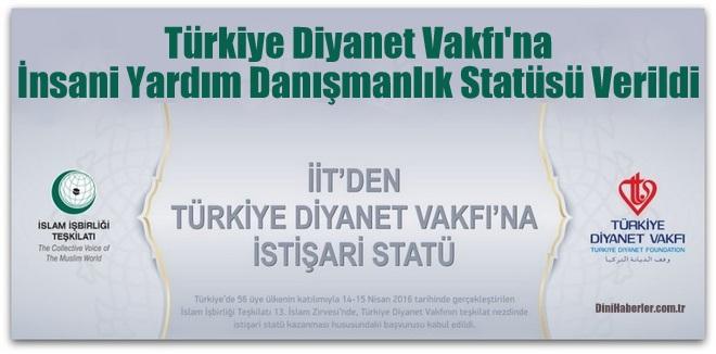 TDV\'ye İnsani Yardım Danışmanlık Statüsü Verildi
