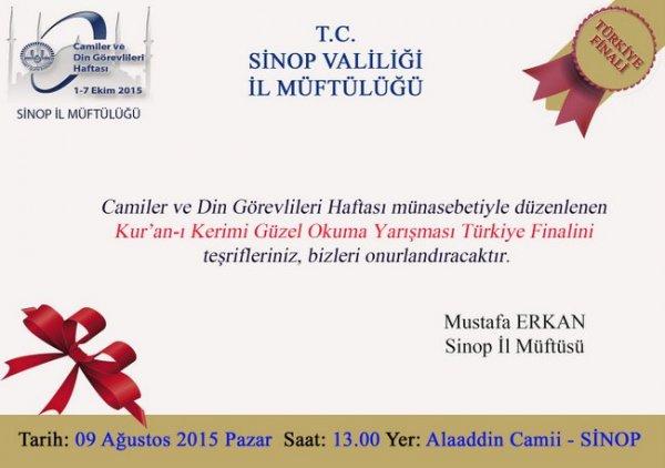 12. Türkiye Kur'an-ı Kerimi Güzel Okuma Final Yarışması Sinop'ta Yapılacak