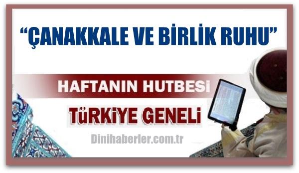 18.03.2016 Tarihli okunacak hutbe.. Turkiye Genel