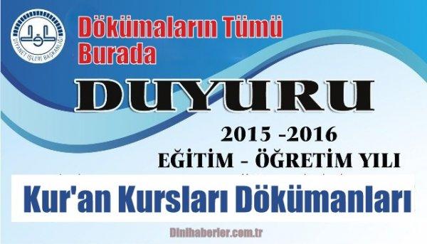 2015-2016 Eğitim Öğretim Yılı K.Kursları dokümanları