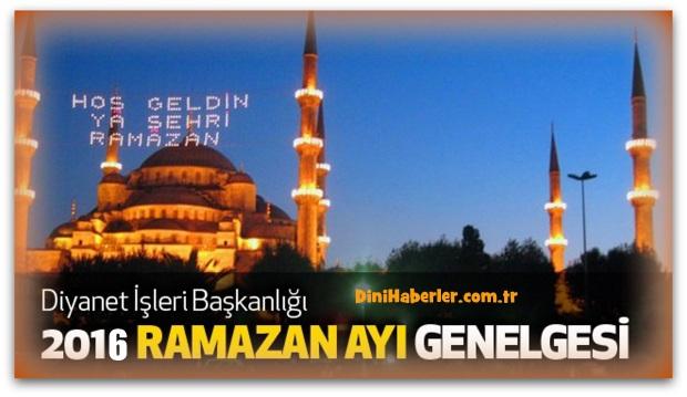 2016 Diyanet Ramazan Ayı Genelgesi