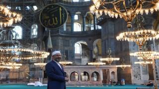 Başkan Erbaş, Ayasofya Camii'nde incelemelerde bulundu
