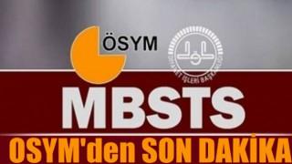 ÖSYM'den MBSTS sınavı için son dakika açıklama!