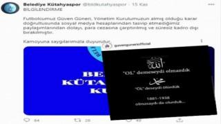Belediye Kütahyaspor'dan ifade özgürlüğüne tahammülsüzlük
