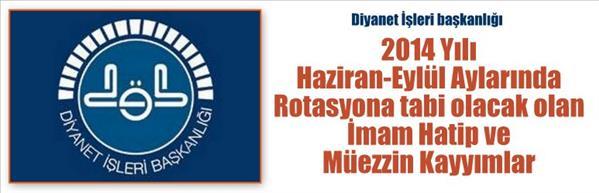 2014 Yılında Rotasyona Tabi Olan Cami Görevlileri