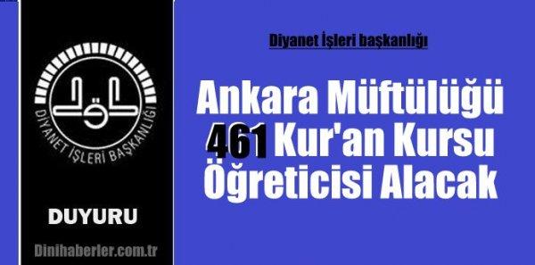 Ankara Müftülüğü 461 Kur'an Kursu Öğreticisi Alacak