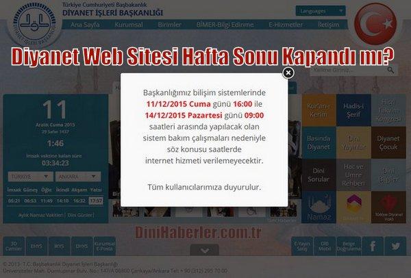 Diyanet Web Sitesi Hafta Sonu Kapalı Olacak tı...