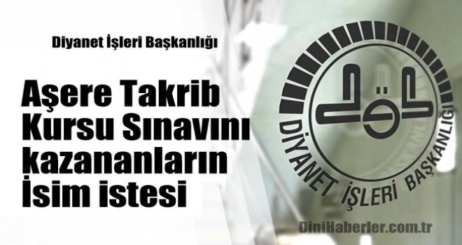 Aşere Takrib Kursu Sınavını kazananlara ait isim listesi
