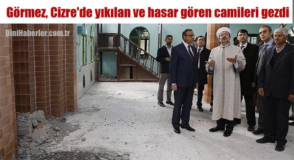 Görmez, Cizre\'de yıkılan ve hasar gören camileri gezdi...