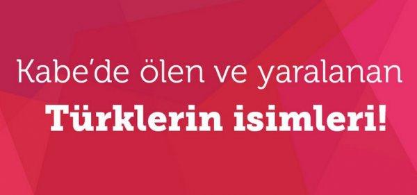 Kabe'de ölen ve yaralanan Türklerin isimleri