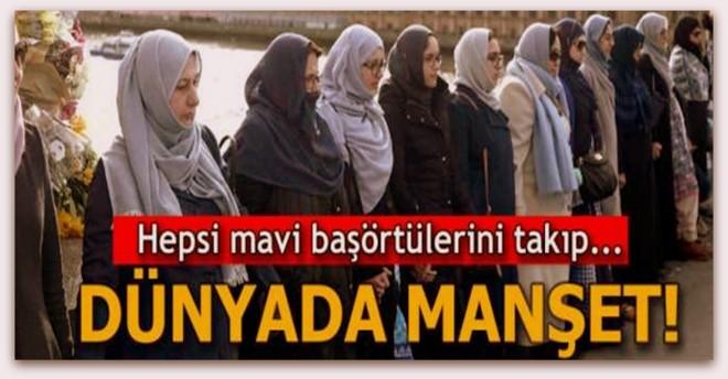 Müslüman kadınlardan Londra\'da insan zinciri