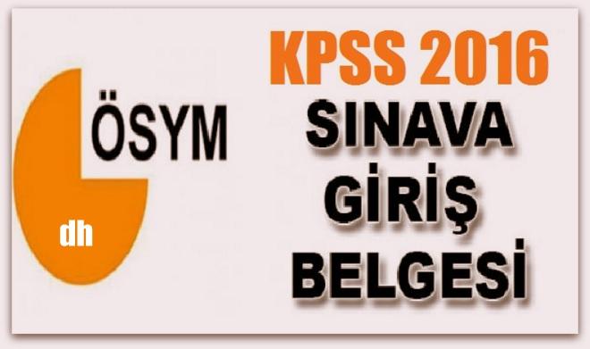 ÖSYM 2016-KPSS Ortaöğretim Sınava Giriş Belgeleri Yayımlandı