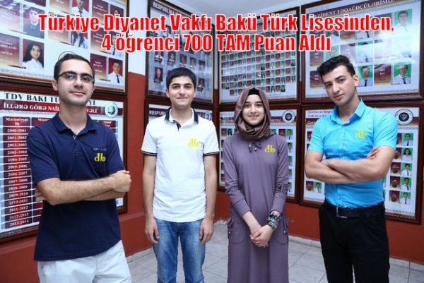 Türkiye Diyanet Vakfı Bakü Türk Lisesi'nden tarihi başarı
